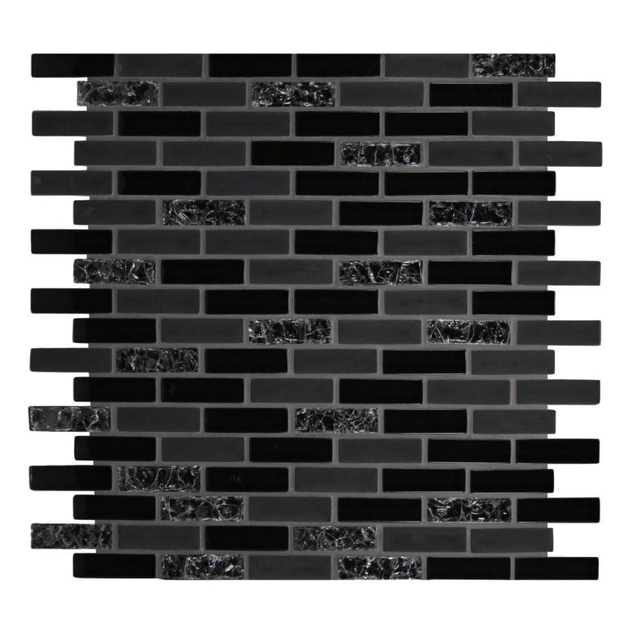 Kitchen Wall Tiles Types: GBI Tile & Stone Inc. Gemstone Black 12-in X 12-in Glass