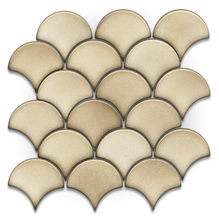 Shop gbi tile stone inc glossy circular mosaic ceramic wall tile common 13 in x 13 in Ceramic stone tile