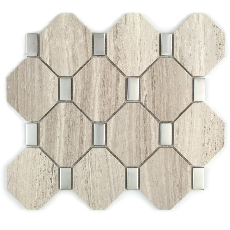 GBI Tile & Stone Inc. Macchiato Mixed Pattern Mosaic Stone and Glass Marble Wall Tile (Common: 14-in x 15-in; Actual: 13.39-in x 14.76-in)