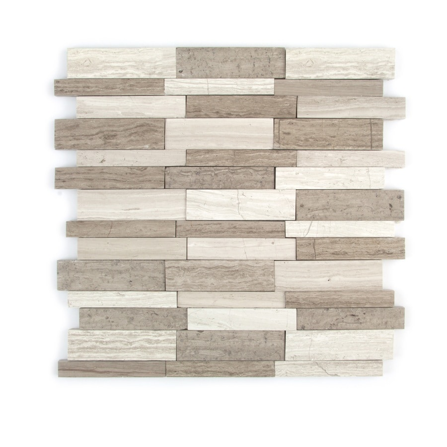 GBI Tile & Stone Inc. Gray Linear Mosaic Marble Wall Tile (Common: 12-in x 13-in; Actual: 11.61-in x 12.36-in)