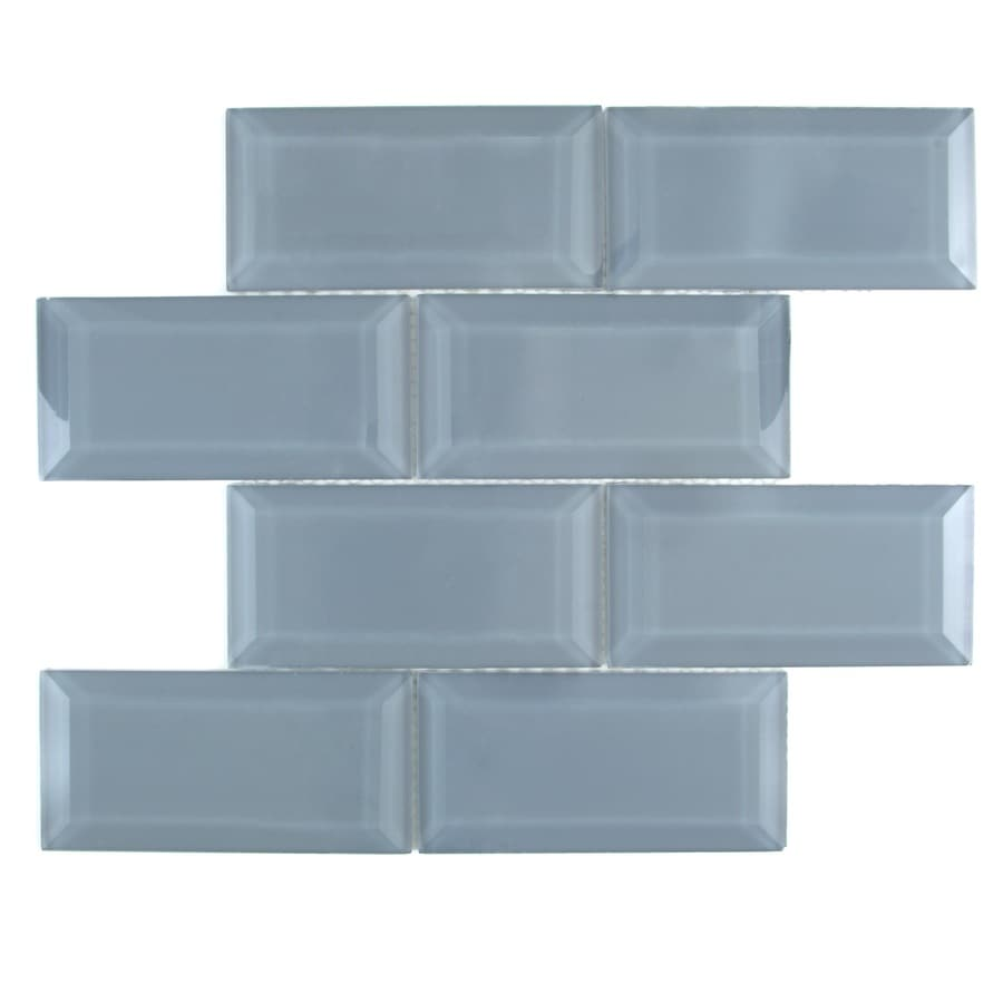 Shop Gbi Tile Stone Inc Blue Glass Mosaic Subway Wall Tile