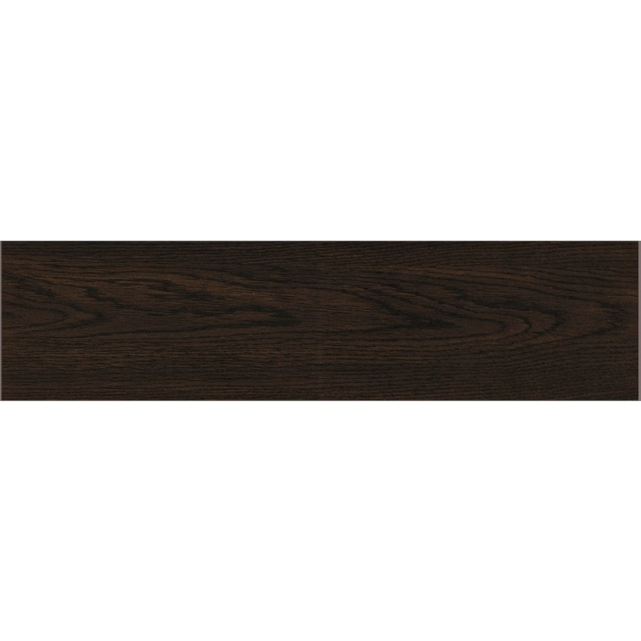 GBI Tile & Stone Inc. Saddleback Espresso Wood Look Ceramic Floor Tile (Common: 6-in x 24-in; Actual: 5.91-in x 23.62-in)