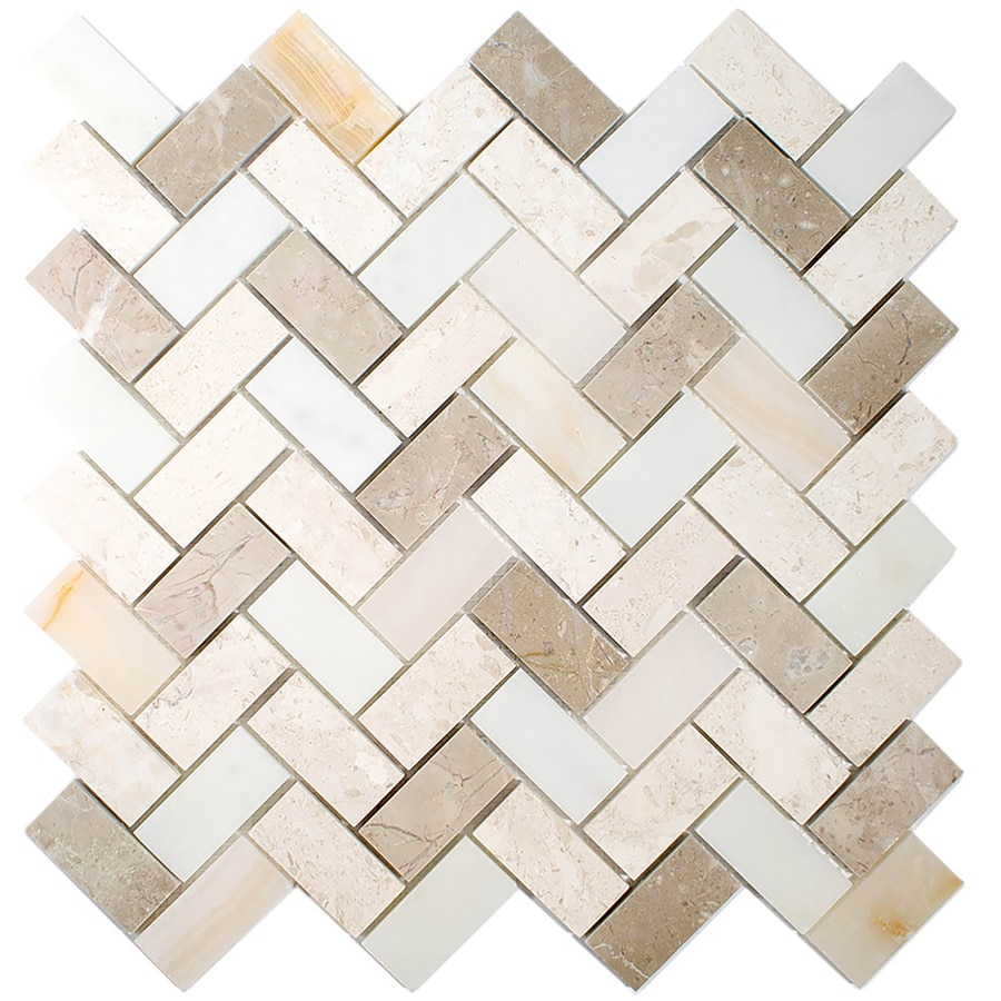 allen + roth Marble Beige Herringbone Mosaic Wall Tile (Common: 11-in x 11-in; Actual: 11.14-in x 11.14-in)