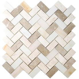allen + roth Marble Beige 11-in x 11-in Herringbone Marble Mosaic Wall Tile (Common: 11-in x 11-in; Actual: 11.14-in x 11.14-in)