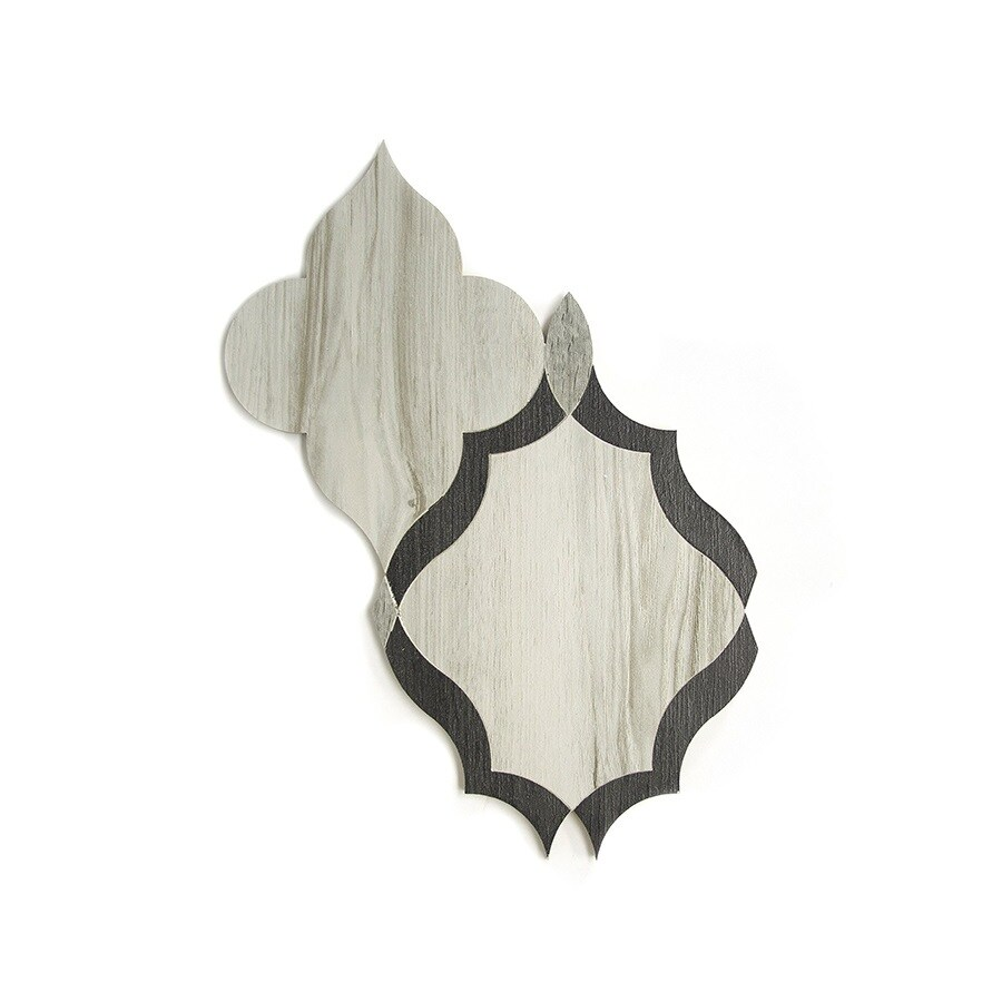 allen + roth Ceramic Graphite Ogee Mosaic Ceramic Wall Tile (Common: 10-in x 14-in; Actual: 9.27-in x 13.5-in)