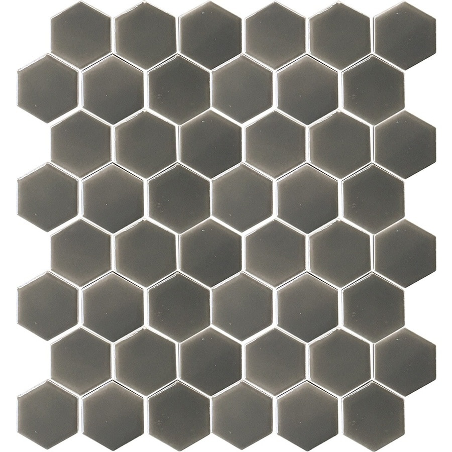 Allen Roth Charcoal 12 In X 12 In Ceramic Honeycomb