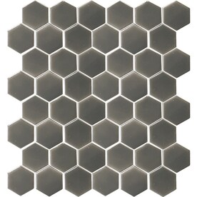 allen + roth Charcoal 12-in x 12-in Ceramic Honeycomb Mosaic Wall Tile (Common: 12-in x 12-in; Actual: 12.4-in x 12.4-in)