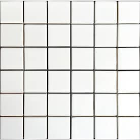 allen + roth White 12-in x 12-in Ceramic Uniform Squares Mosaic Wall Tile (Common: 12-in x 12-in; Actual: 11.81-in x 11.77-in)