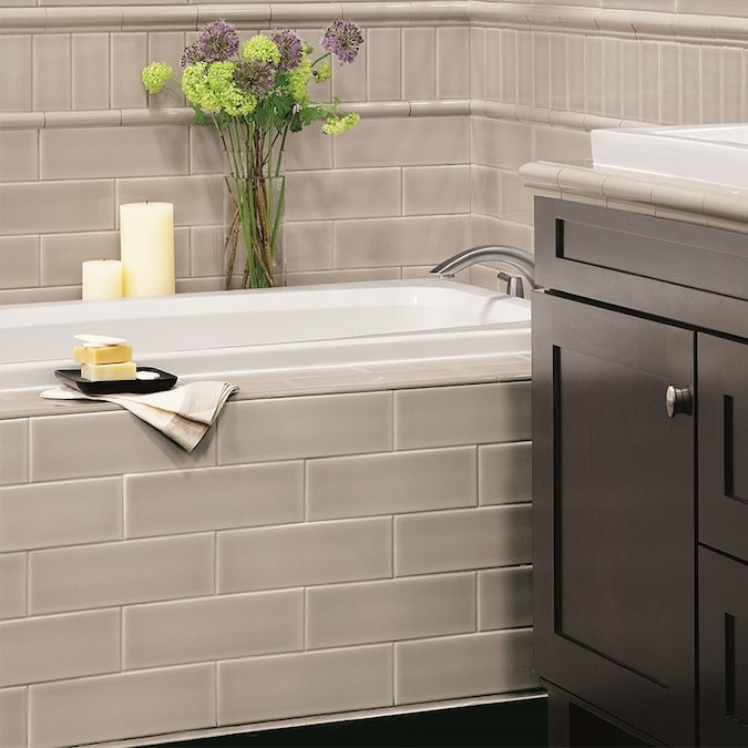 Allen Roth Pearl 3 In X 6 In Glazed Ceramic Subway Wall