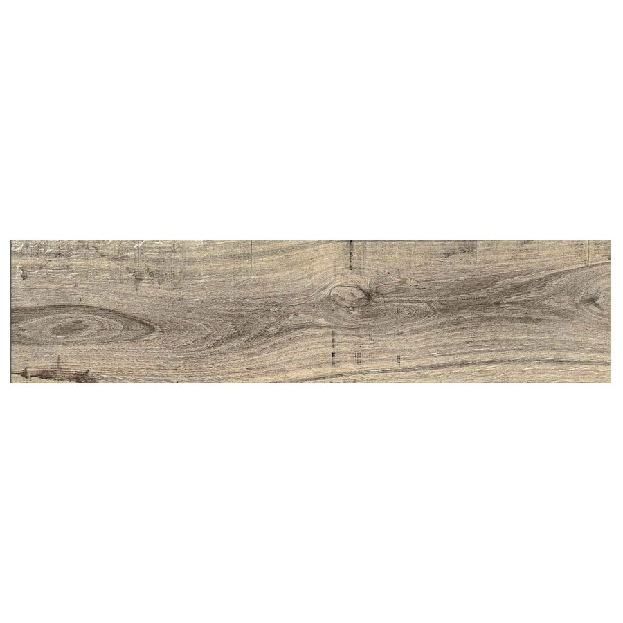 Shop tile at lowes gbi tile stone inc madeira buff wood look ceramic floor tile common dailygadgetfo Gallery