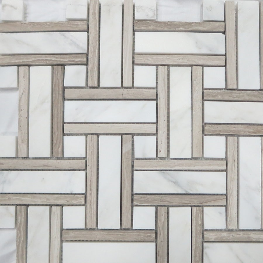 Marble Basketweave Tile >> Style Selections Azra Taupe 12-in x 12-in Basketweave