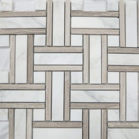 Style Selections Azra Taupe 12-in x 12-in Basketweave Marble Mosaic Wall Tile (Common: 12-in x 12-in; Actual: 11.65-in x 11.65-in)