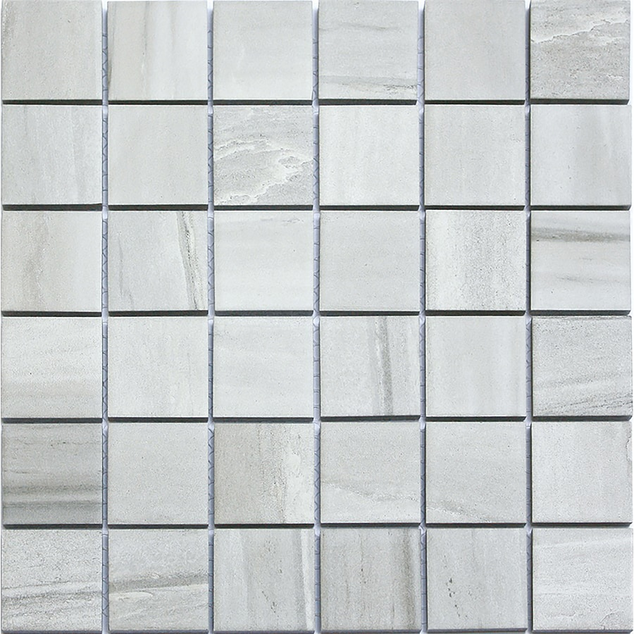 Style Selections Chique Gris Uniform Squares Mosaic Porcelain Wall Tile (Common: 12-in x 12-in; Actual: 11.81-in x 11.81-in)