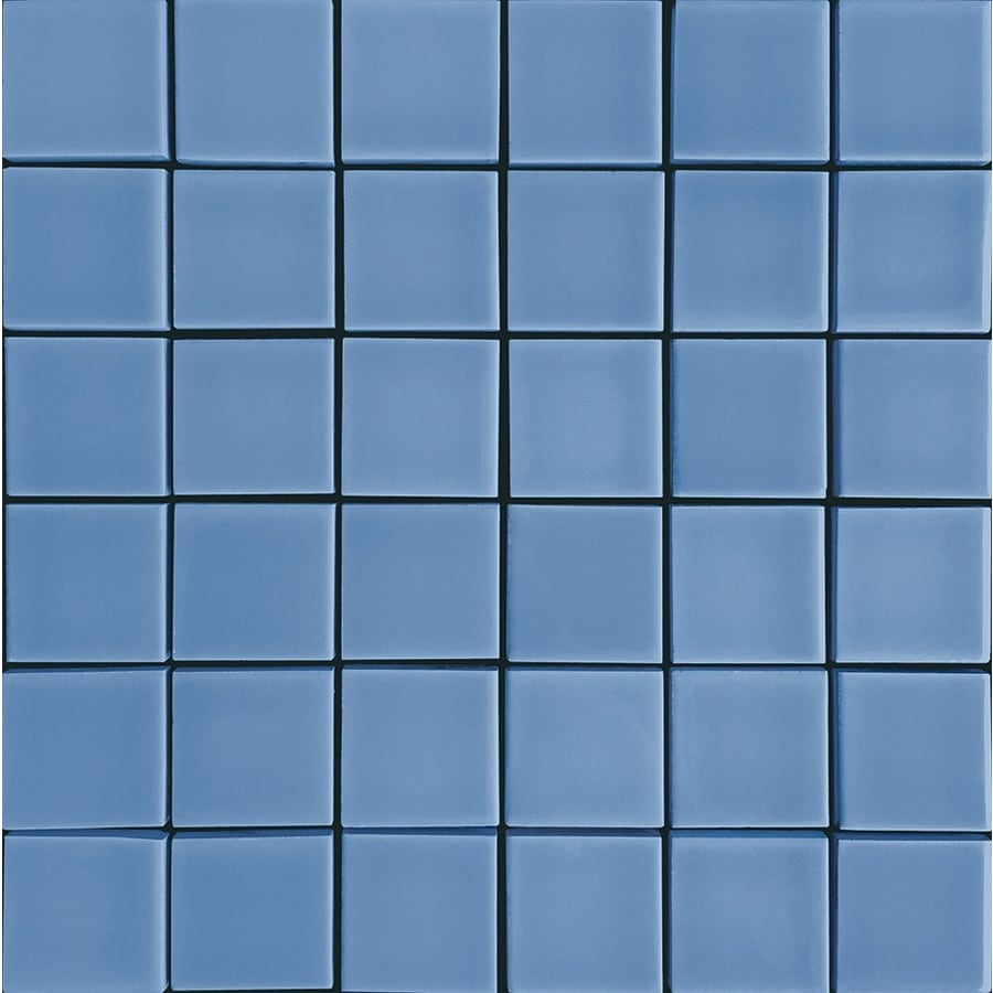 Shop allen + roth Blue Uniform Squares Mosaic Ceramic Wall Tile ...