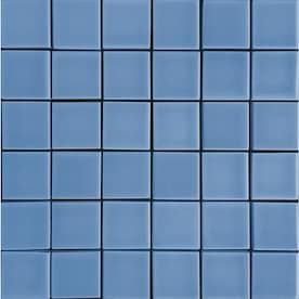 allen + roth Blue 12-in x 12-in Ceramic Uniform Squares Mosaic Wall Tile (Common: 12-in x 12-in; Actual: 11.77-in x 11.77-in)