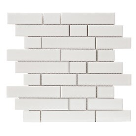 GBI Tile & Stone Inc. West Covina White 12-in x 12-in Porcelain Linear Mosaic Wall Tile (Common: 12-in x 12-in; Actual: 11.97-in x 11.73-in)