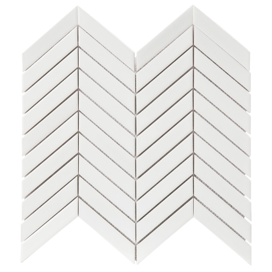 Shop Gbi Tile Amp Stone Inc Whittier White Chevron Mosaic