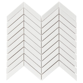 GBI Tile & Stone Inc. Whittier White 12-in x 12-in Porcelain Chevron Mosaic Wall Tile (Common: 12-in x 12-in; Actual: 12.05-in x 11.3-in)