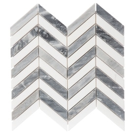 GBI Tile & Stone Inc. Santa Monica Gray 12-in x 12-in Chevron Marble Mosaic Wall Tile (Common: 12-in x 12-in; Actual: 12.05-in x 11.3-in)