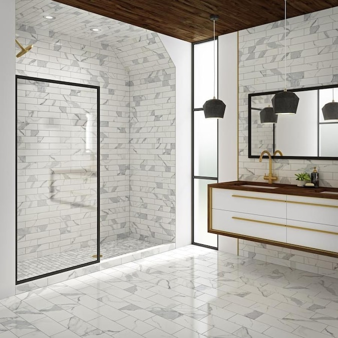 Style Selections Calacatta Polished White 6 In X 12 In