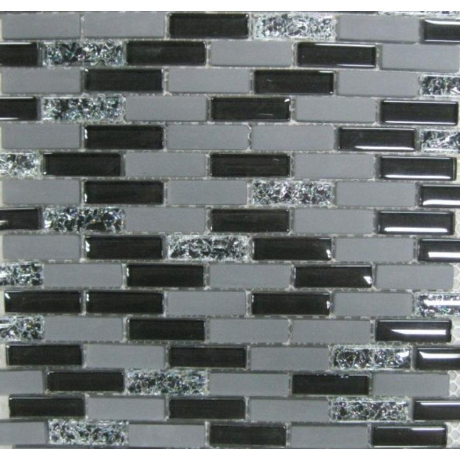 Shop Gbi Tile Stone Inc Gemstone Black Brick Mosaic Glass Tile