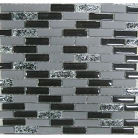 GBI Tile Stone Inc Gemstone Black Brick Mosaic Glass Sample Common