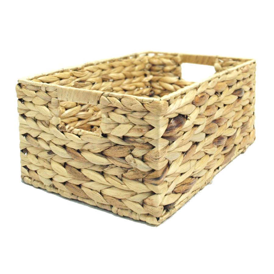 allen + roth 10.5-in W x 6.75-in H x 15.5-in D Water Hyacinth Crate