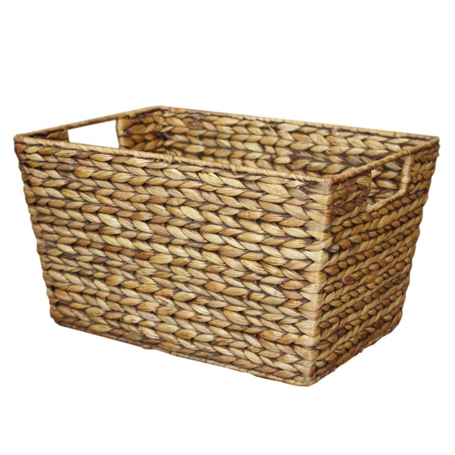 10-in W x 8-in H x 14-in D Brown Wash Water Hyacinth Basket