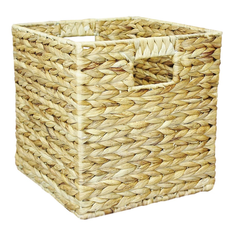 11-in W x 9-in H x 10-in D Natural Water Hyacinth Milk Crate