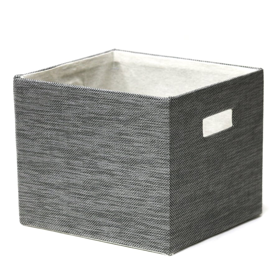 11-in W x 9-in H x 10-in D Brown Speckle Faux Leather Milk Crate