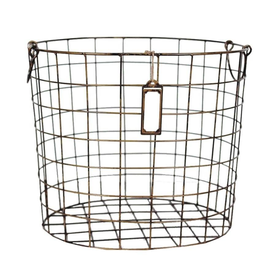 17.5-in W x 15-in H x 14.5-in D Antique Brass Iron Basket