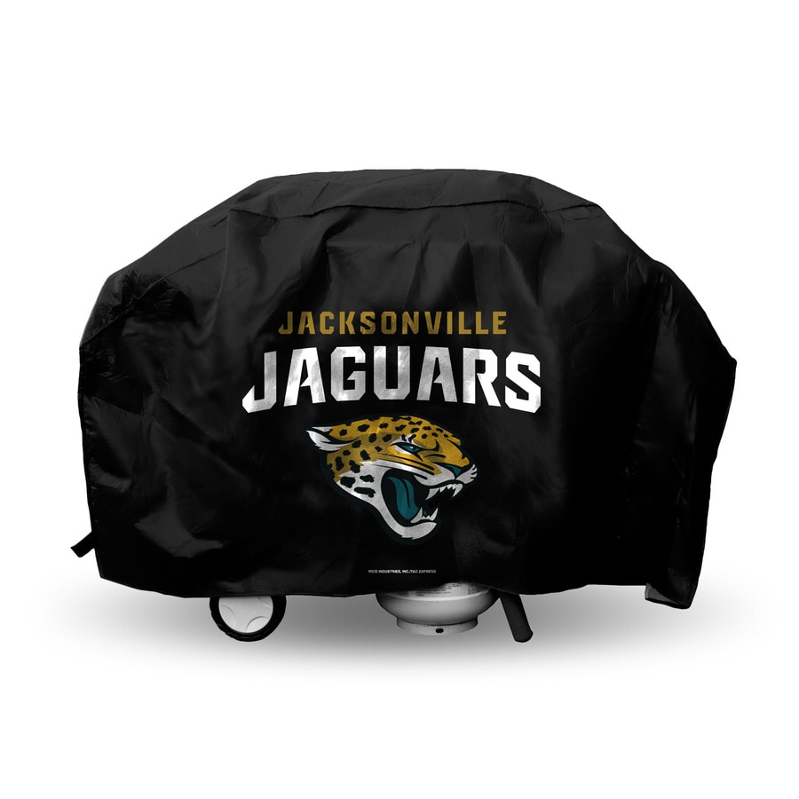 Rico Industries/Tag Express 68-in x 21-in Black Vinyl Jacksonville Jaguars Grill Cover Fits Most Universal