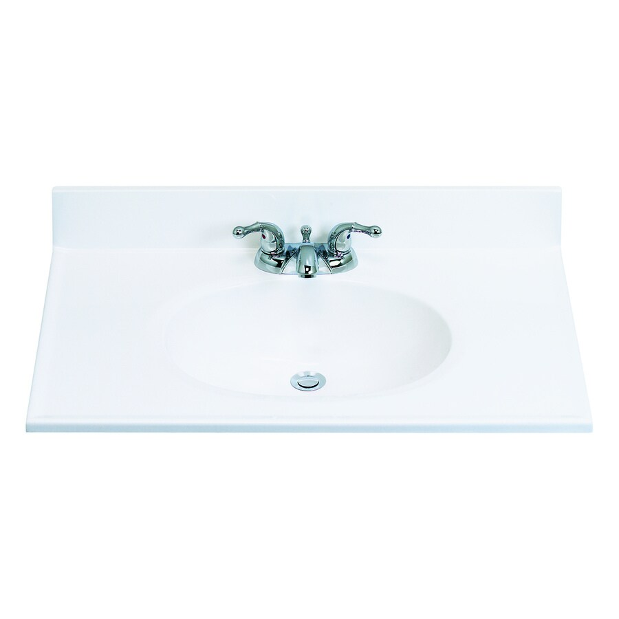 ESTATE by RSI White Cultured Marble Integral Single Sink Bathroom Vanity Top (Actual: 31-in x 19-in)
