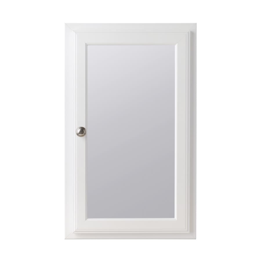 Style Selections 15.75-in x 25.75-in Rectangle Recessed Mirrored MDF Medicine Cabinet