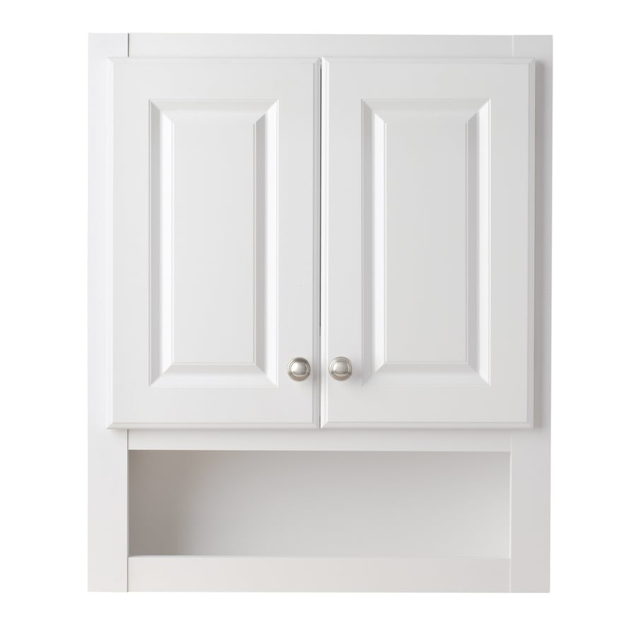 Https Www Lowes Com Pd Style Selections 23 25 In W X 28 In H X 7 In D White Particleboard Bathroom Wall Cabinet 1002149