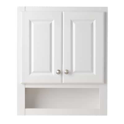 Style Selections 23 25 In W X 28 In H X 7 In D White Bathroom Wall Cabinet In The Bathroom Wall Cabinets Department At Lowes Com