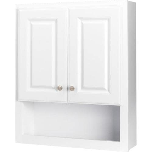 Style Selections 23.25-in W x 28-in H x 7-in D White Bathroom Wall Cabinet  at Lowes.com