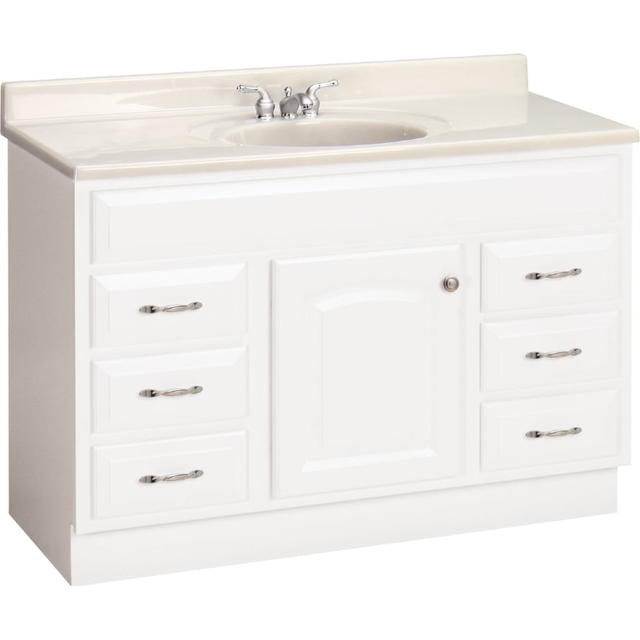 Shop Project Source White Elegance Traditional Bath Vanity At - Lowes 48 bathroom vanity
