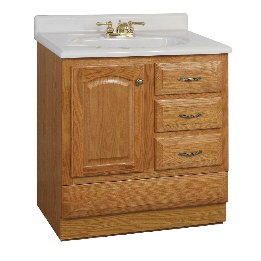 Project Source 30 Oak Elegance Bottom Drawer Traditional Bath Vanity