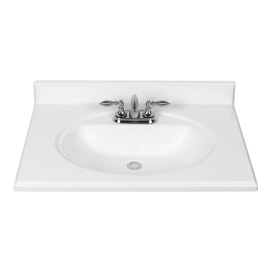 "ESTATE by RSI 49""W x 22""D White Premium Cultured Marble Vanity Top"