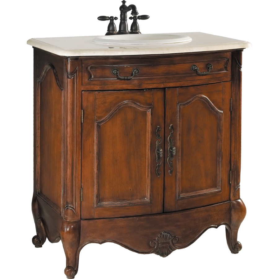 ESTATE by RSI Colonial Spiced Cognac Undermount Single Sink Poplar Bathroom Vanity with Natural Marble Top (Actual: 31-in x 20-in)