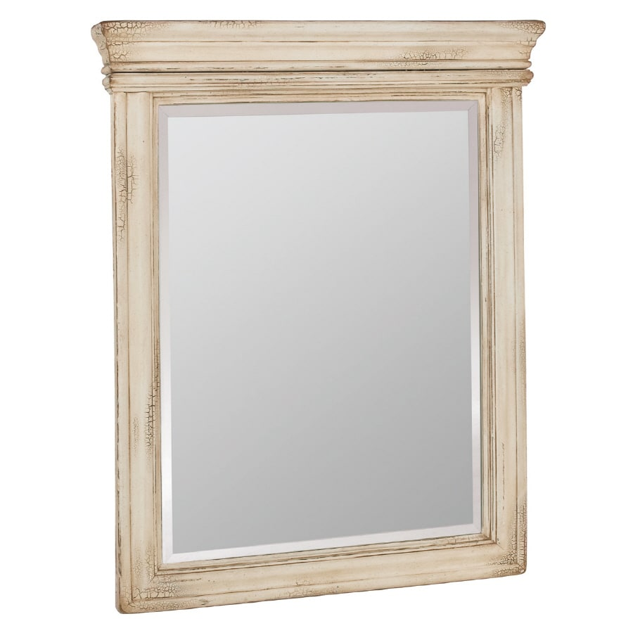 ESTATE by RSI Vintage 27-in W x 33-in H Antiqued White Rectangular Bathroom Mirror