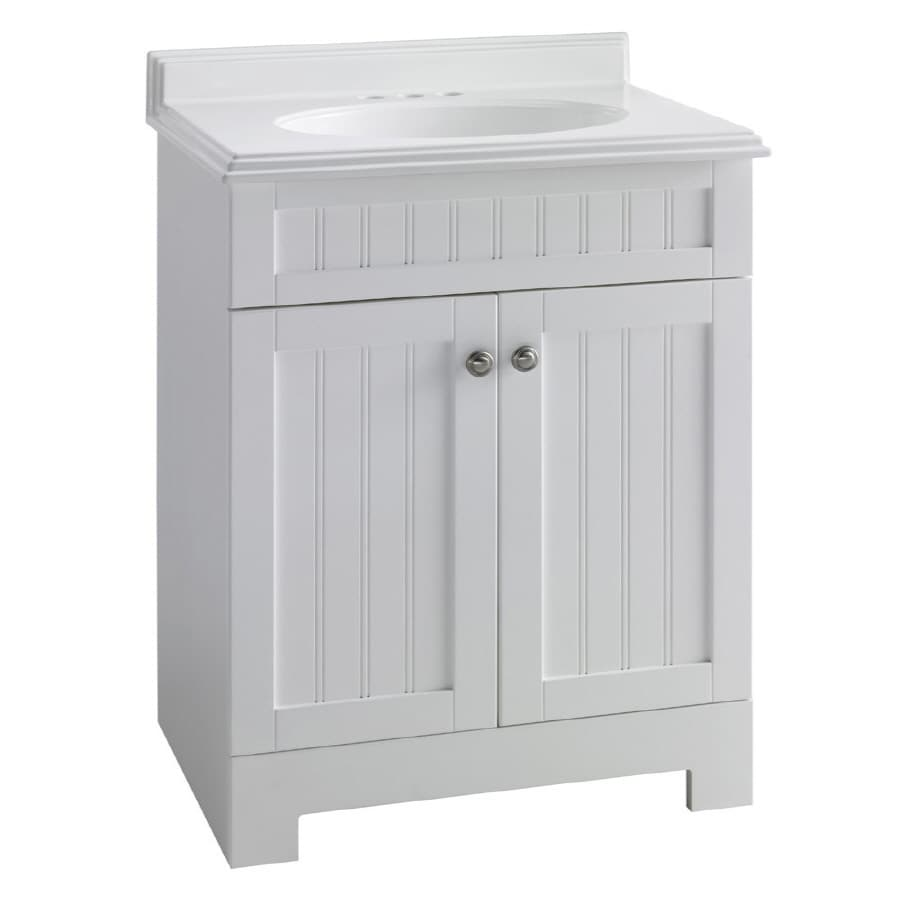 Shop estate by rsi boardwalk white 25 in integral single for Low bathroom cabinet