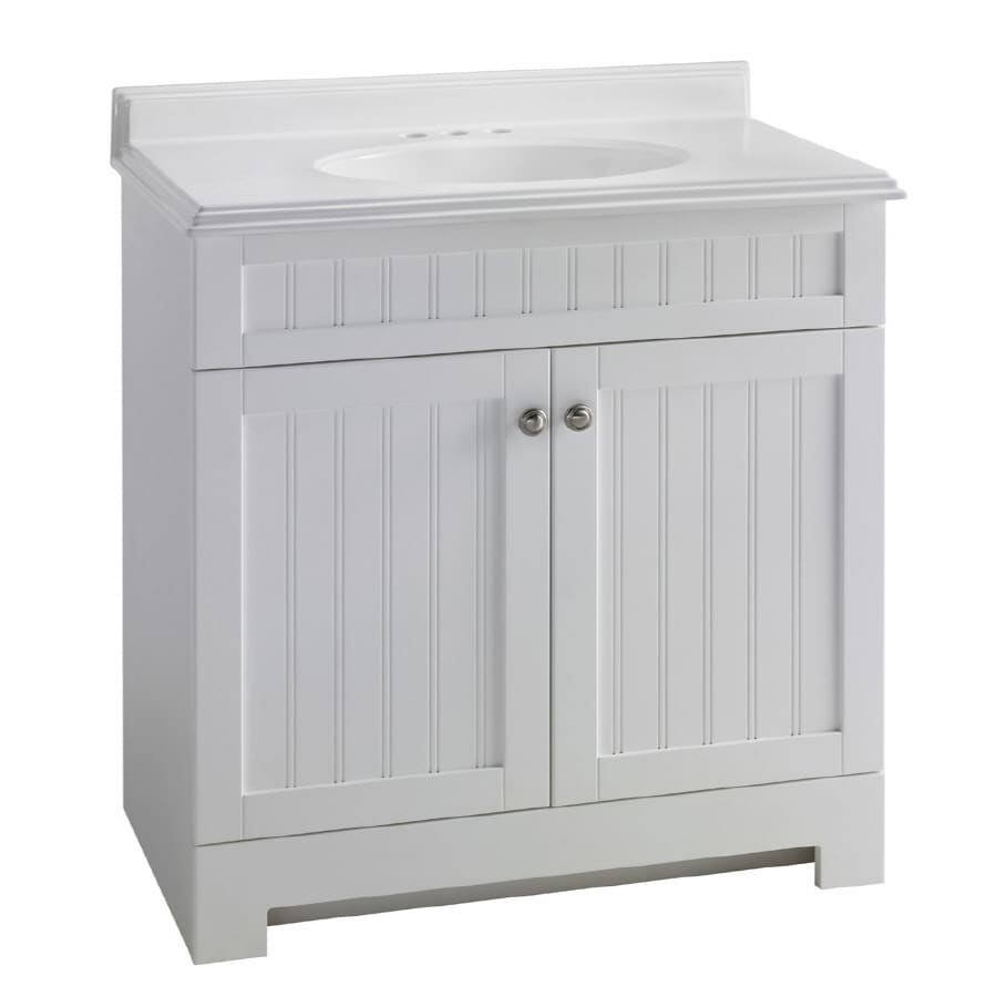 Shop estate by rsi boardwalk white 31 in integral single for Low bathroom cabinet