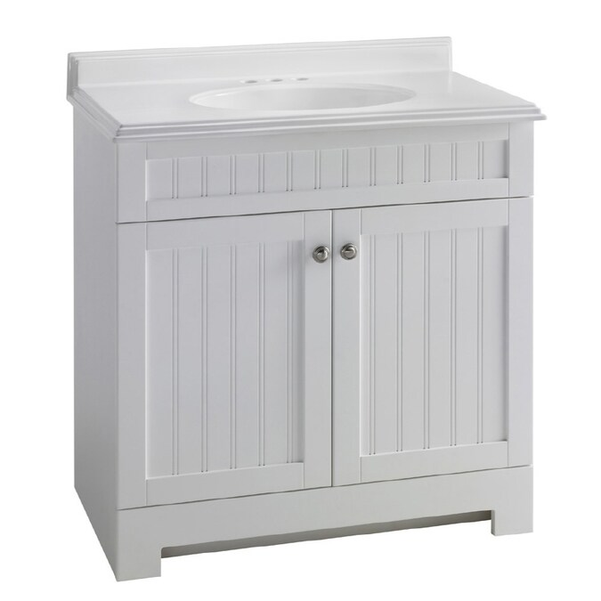 Estate By Rsi Boardwalk White 31 In Integral Single Sink Bathroom Vanity With Cultured Marble Top In The Bathroom Vanities With Tops Department At Lowes Com