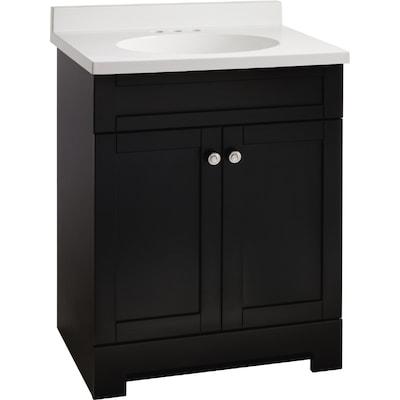 Verona 31 In X 18 1 2 In Black Integral Single Sink Bathroom Vanity With Cultured Marble Top
