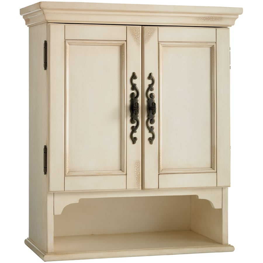 28 in h x d antiqued white bathroom wall cabinet at
