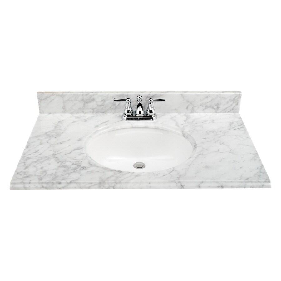 ESTATE By RSI Natural Marble Undermount Single Sink Bathroom Vanity Top  (Actual: 37