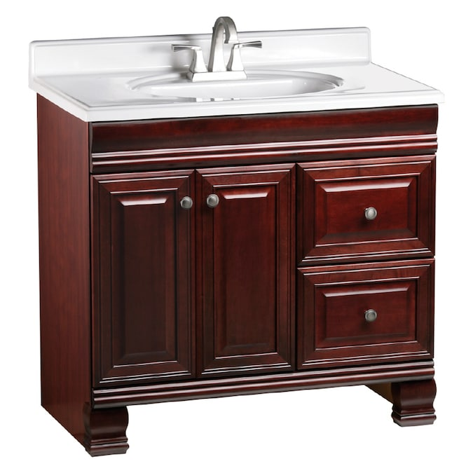 Estate By Rsi Cambridge Burgundy 36 In Traditional Bathroom Vanity In The Bathroom Vanities Without Tops Department At Lowes Com