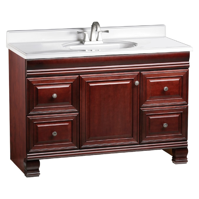 Estate By Rsi Cambridge Burgundy 48 In Traditional Bathroom Vanity In The Bathroom Vanities Without Tops Department At Lowes Com